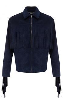 Куртка на молнии из эко-замши с бахромой Stella McCartney