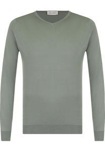 Однотонный хлопковый пуловер John Smedley