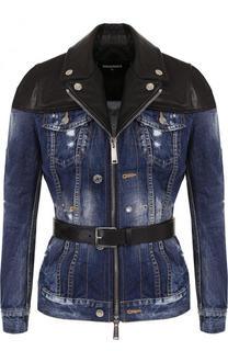 Джинсовая куртка с потертостями и кожаной отделкой Dsquared2