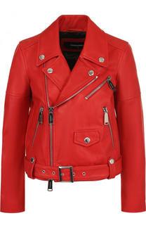 Однотонная кожаная куртка с косой молнией Dsquared2