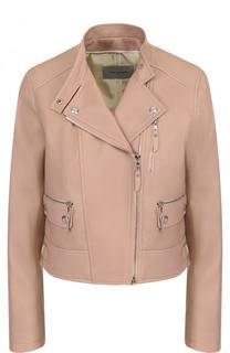 Укороченная кожаная куртка с косой молнией Yves Salomon