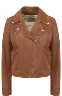Укороченная замшевая куртка с косой молнией Yves Salomon