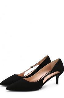 Замшевые туфли на каблуке kitten heel Escada