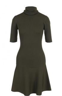 Однотонное вязаное мини-платье с воротником-стойкой MICHAEL Michael Kors