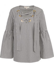 Хлопковая блуза с расклешенными рукавами и шнуровкой MICHAEL Michael Kors