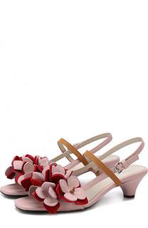 Кожаные босоножки с цветочной аппликацией Marni