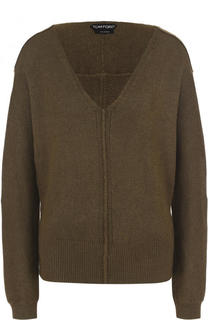 Шелковый пуловер свободного кроя с V-образным вырезом Tom Ford