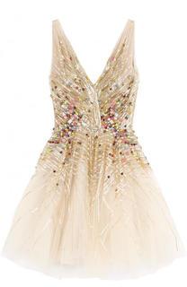 Приталенное мини-платье с контрастной вышивкой и V-образным вырезом Jenny Packham
