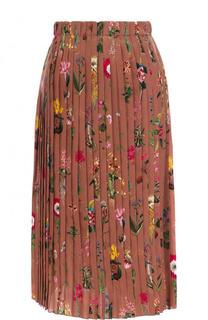 Шелковая плиссированная юбка-миди с принтом No. 21
