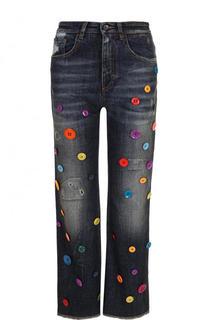 Укороченные расклешенные джинсы с контрастной отделкой Dolce & Gabbana