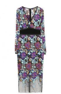 Приталенное платье-миди с длинным рукавом и V-образным вырезом Diane Von Furstenberg
