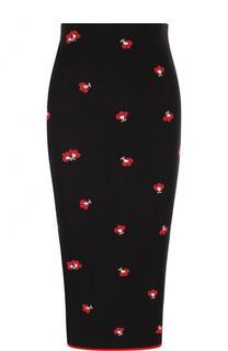 Вязаная юбка-карандаш с цветочным принтом Victoria Beckham