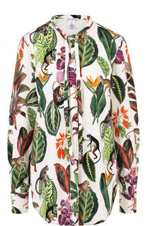 Шелковая блуза с принтом и запонками Oscar de la Renta
