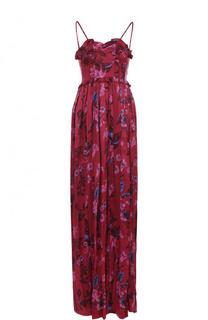 Шелковое платье-макси с завышенной талией и принтом Balenciaga