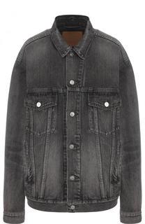 Удлиненная джинсовая куртка с потертостями Balenciaga