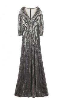 Приталенное платье-макси с вышивкой Jenny Packham