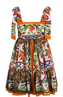 Хлопковый сарафан с завышенной талией и принтом Dolce & Gabbana