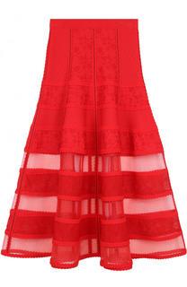 Однотонная юбка-миди с прозрачными вставками Alexander McQueen