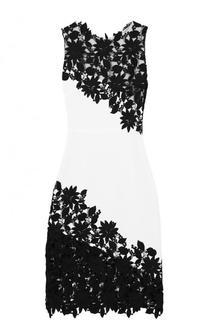 Приталенное платье-миди с кружевной отделкой Alice + Olivia