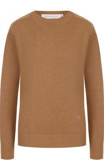 Однотонный кашемировый пуловер с круглым вырезом Victoria Beckham