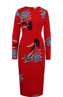Приталенное платье-миди с длинным рукавом и принтом Diane Von Furstenberg