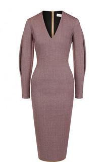 Приталенное платье-миди с V-образным вырезом Victoria Beckham