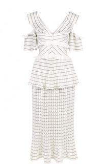 Приталенное платье-миди с плиссированной юбкой и разрезами на плечах self-portrait