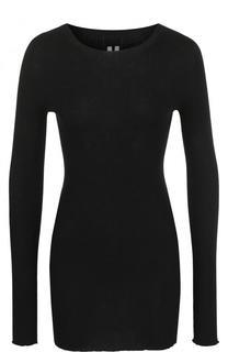 Однотонный хлопковый пуловер с круглым вырезом Rick Owens