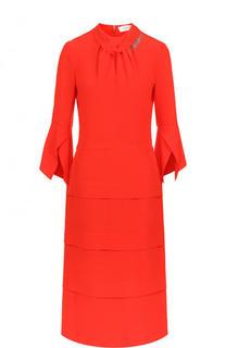 Однотонное шелковое платье-миди с укороченным рукавом Victoria Beckham