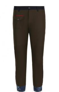 Хлопковые брюки прямого кроя с манжетами из денима Dsquared2