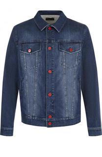 Джинсовая куртка на пуговицах с потертостями Kiton