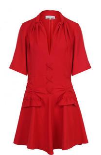 Однотонное приталенное мини-платье Carven