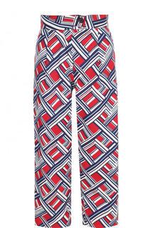 Укороченные брюки с принтом и широким поясом Carven