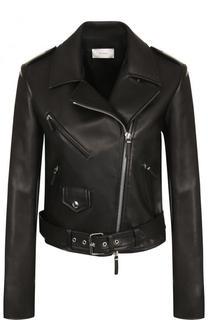 Приталенная кожаная куртка с косой молнией The Row