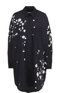 Хлопковая блуза свободного кроя с контрастной отделкой Oscar de la Renta