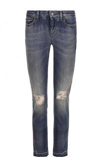 Укороченные джинсы-скинни с потертостями Dolce & Gabbana