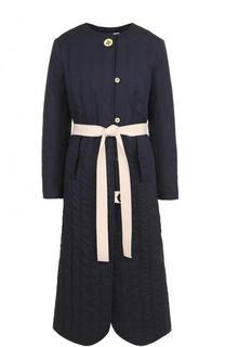 Пальто с круглым вырезом и контрастным поясом Walk of Shame