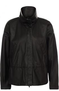 Однотонная кожаная куртка с воротником-стойкой Giorgio Armani