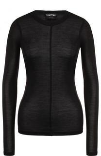 Приталенный шелковый пуловер с круглым вырезом Tom Ford