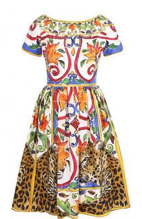 Приталенное хлопковое мини-платье с принтом Dolce & Gabbana