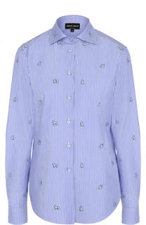 Хлопковая блуза прямого кроя в полоску Giorgio Armani