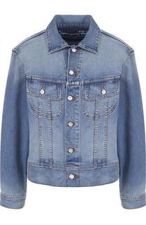 Джинсовая куртка с потертостями и декорированной спинкой Oscar de la Renta