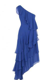 Шелковое платье асимметричного кроя с оборками Alice + Olivia