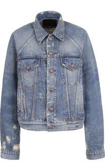 Джинсовая куртка свободного кроя с потертостями R13