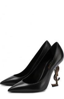Кожаные туфли Opyum на фигурной шпильке Saint Laurent