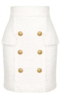 Буклированная мини-юбка с завышенной талией Balmain