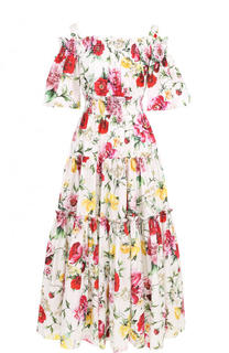 Приталенное хлопковое платье-миди с принтом Dolce & Gabbana