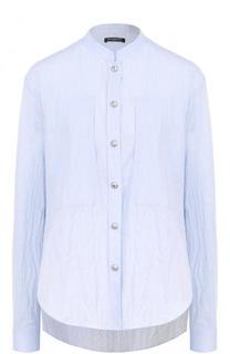Хлопковая блуза свободного кроя с воротником-стойкой Balmain