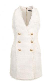 Приталенное буклированное мини-платье Balmain