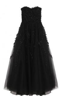 Платье-бюстье с вышивкой и пышной юбкой Oscar de la Renta